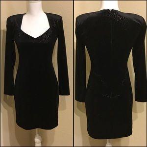 Betsy & Adam Black Velvet Dress Longsleeve